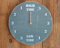 tide clock driftwood dark blue and white - Tide Clock