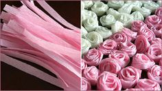 """so cool! take crepe paper and cut pieces to 9 inches long and 3/4"""" wide and roll an end two to three times and then twist as you roll and voila! cute little flowers!"""