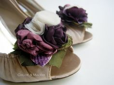 I love these only with a champagne tulle in the middle!  TORI mauve and plum fabric bouquet style shoe by ChloeANDMaddie, $48.95