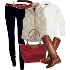 #fall #outfits / quilted vest + handbag