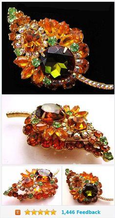 "Juliana Brooch Pin D&E Orange Olive Green Rhinestones Gold Metal 3 1/2"" Vintage https://www.etsy.com/BrightgemsTreasures/listing/555781680/juliana-brooch-pin-de-orange-olive-green?ref=shop_home_active_14"