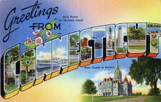 Greetings from Connecticut - Large Letter Postcard