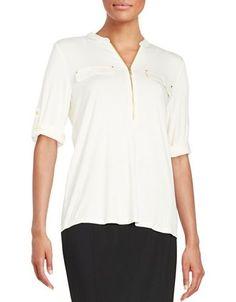 Calvin Klein Zip-Accented Knit Top Women's Birch X-Small