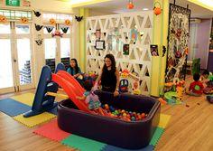 Little pool- slide- play balls. Great idea!