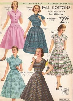 1957 house or day dresses in fall cottons shirtwaist style