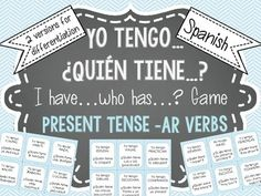 Get your students speaking, listening and practicing Spanish AR verb meanings and conjugations. This set includes 2 sets of 36 cards each and instructions for playing Yo tengo...¿Quién tiene...?  To prepare cards, just print (use cardstock if possible), cut apart and laminate to preserve use.