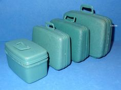 Vintage Barbie Doll Scale Luggage Suitcase Beauty Case Turquoise Samsonite EXC | eBay.   I had these suitcases!  I got them at clarkins in Akron.