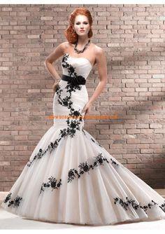 Robe de mariée sirène en tulle applique avec ruban                                                                                                                                                                                 Plus