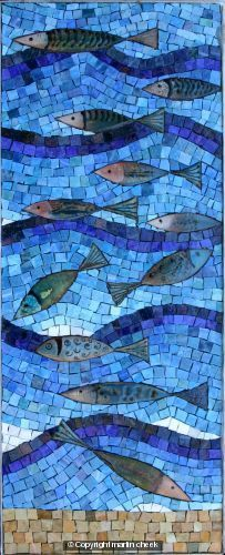 This is a most attractive Enamel Fish mosaic by Martin Cheek