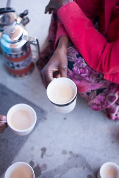 Spiced milk tea, very similar to chai. This is a Somalian version- read the very moving article on the food blog- Design Sponge