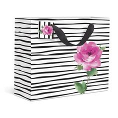 Floral Stripe Medium Gift Bag by Graphique de France. Who knew that zebra print and roses went so well together!? A perfect gift accessory for the more fashion-forward friend! $3.95