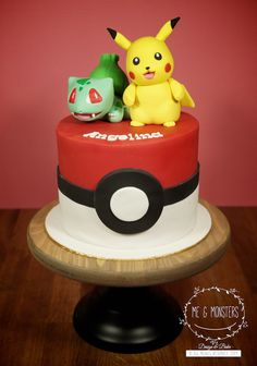 Pokemon theme cake- replace the green guy with a number five