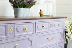 DIY Purple Dresser makeover with Divine Lavender - Fusion Mineral Paint Purple Dresser, Purple Paint Colors, Dresser Refinish, Ikea Home, Furniture Makeover, Furniture Projects, Diy Furniture, Diy Projects, Mineral Paint