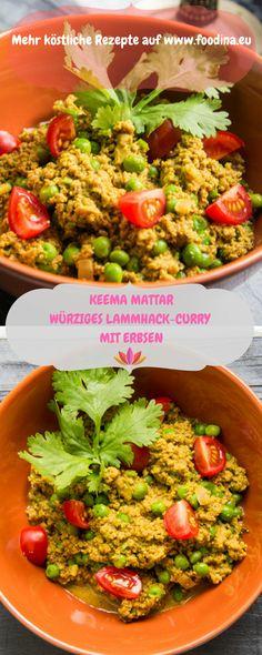 Ein grossartiges indisches Curry mit Hackfleisch und Erbsen verbirgt sich hinter diesem Bild. Try it!