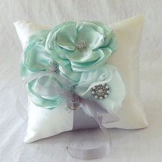 Ivory Ring Bearer Pillow with Mint and Silver by theGinghamGarden, $50.00