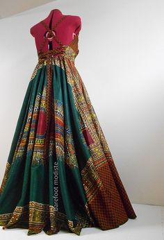 Green Sunrise Long African Maxi Dress Unique by BarefootModiste
