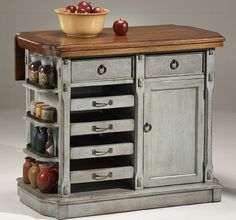 Functional Small Kitchen Island - How cute is this?
