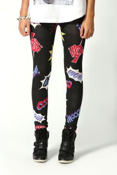 Layla Cartoon Slogan Printed Leggings