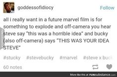 """Captain America (MCU) - Steve Rogers x Bucky Barnes - Stucky headcanon """"And then Steve would retort with 'Well you're the one who let me! Funny Marvel Memes, Dc Memes, Avengers Memes, Marvel Jokes, Marvel Dc Comics, Marvel Heroes, Marvel Avengers, Fandoms, Newt Thomas"""