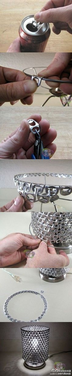 Coke Can Tabs - this continues to make a full lampshade >< also I Thought using the tabs hooked over the top with w/out shade will is a good thought when decorating for a holiday if you need a base object to hang or hook something from.: