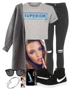 """""""Nike tag"""" by yazbo ❤ liked on Polyvore featuring Topshop, Être Cécile, NIKE, Waterford, Cartier and Illesteva"""