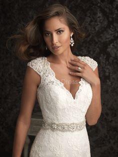 V Back V Neck Fit N Flare Chapel Train Lace Wedding Dress