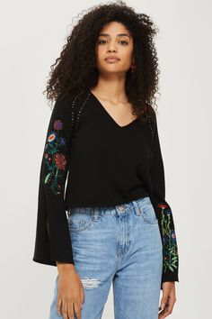 V-Neck Stud and Embroidery Detailed Jumper