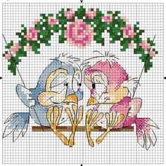 Cross-stitch Lovebirds... no color chart available, just use the pattern chart as your color guide... murzilka1019 — «71442.jpg» на Яндекс.Фотках