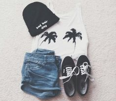 Palm tree tank with jean shorts and black VANS