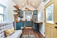 """Cypress"" Tiny House by Mustard Seed Tiny Homes Tiny House Movement // Tiny Living // Tiny House Living Room // Tiny Home Kitchen // Two Bedroom Tiny House, Tiny House Living, Home Living Room, Small Living, Tiny House Office, Tiny Master Bedroom, Kitchen Living, Living Area, Tiny House Movement"