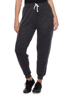 Plus Size Soft Marled Knit Joggers with Drawstring,CHARCOAL