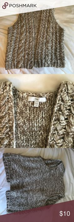 Gap crochet tan & white/cream vest super soft and cozy. excellent condition, just didn't have anything to wear it with. GAP Tops