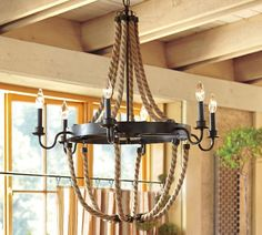 Pottery Barns Rope Chandelier Would Be Perfect For A Cape Cod Or Nautical Themed Dining