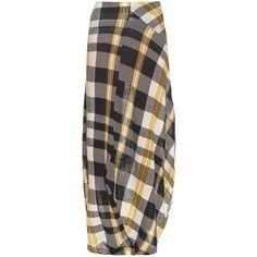 Stella McCartney Check cotton-knit skirt (1,795 NZD) ❤ liked on Polyvore featuring skirts, navy multi, asymmetrical skirt, navy maxi skirt, asymmetrical draped maxi skirt, cotton knit skirt and long asymmetrical skirt