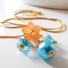 Bridesmaid Jewelry Turquoise and Orange Bead by FiveLittleGems, $17.00 soo...pretty!!