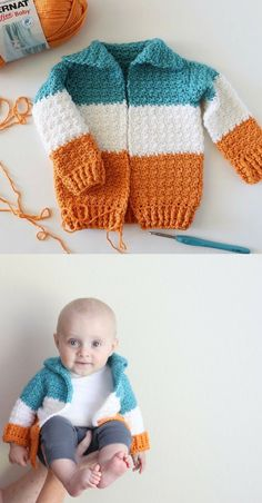 Crochet Baby Patterns Free Pattern - Baby Three Color Crochet Cardigan - Often, as I'm sure it is with you, I see a pattern I'd like to try, but I want to… Crochet Baby Sweaters, Crochet Baby Clothes, Baby Knitting, Knitted Baby, Free Knitting, Crochet Baby Dresses, Crochet Toddler Sweater, Sweaters Knitted, Crochet Baby Boy Hat