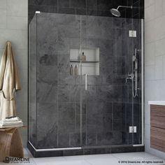 "DreamLine E1281434 Unidoor-X 72"" High x 48"" Wide x 34-3/8"" Deep Hinged Frameless Chrome Showers Shower Enclosures Corner"