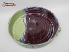 Casserole Dish  Purple and Green by MudbugCreations on Etsy, $30.00