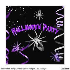 Shop Halloween Party Gothic Spider Purple Black Invitation created by Zizzago. Invitation Paper, Custom Invitations, Party Invitations, White Envelopes, Purple And Black, Paper Design, Halloween Party, Spider, Gothic