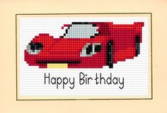 Racing Car Happy Birthday - Available in Red Blue & Green -   Cross Stitch Card Kits