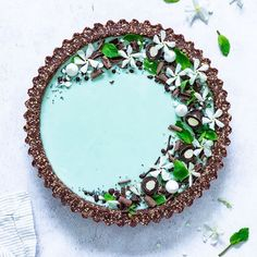 Turks and Caicos vibes anyone? I asked you in my stories what could be the flavor of this cake and nobody got the right answer ? It's a Coconut mint tart Beautiful Desserts, Beautiful Cakes, Tart Recipes, Dessert Recipes, Vegan Recipes, Sweet Tarts, Pretty Cakes, Vegan Desserts, Vegan Food