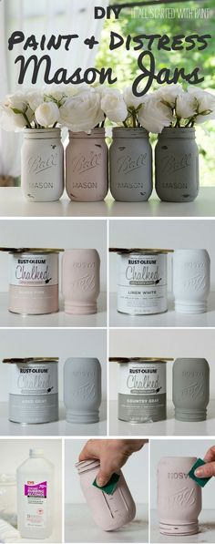 Check out the tutorial: #DIY Paint and Distress Mason Jars - Perfect for an easy dinner party table centerpiece