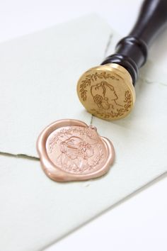 Unique Wedding Invitations, Gold Wedding Invitations, Wedding Invitation Wording, Wedding Stationery, Do It Yourself Wedding, Seal Design, Gold Diy, Wax Seal Stamp, Custom Stamps
