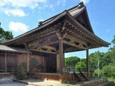 Noh stage. Simple layout and painting of the pine tree. Otaru, Hokkaido.