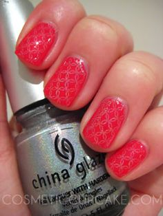 Essie Strawberry Sorbet with a plate stamp using China Glaze OMG