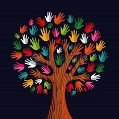Colorful diversity tree hands illustration.illustration layered for easy manipulation and custom coloring.
