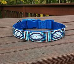 Harbor's Artic Ice Beaded Dog Collar by PebblesPearlsBaubles - Harbor is a Corgi that lives with his family in Alaska. Harbor's mom contacted me on Instagram (@PPandB) inquiring about a custom design inspired by the great state of Alaska. Wow! Alaska - very cool, quite literally! This design is inspired by Harbor's love for water. Blues and whites are used to reflect the beautiful blue glaciers that are found in Alaska.