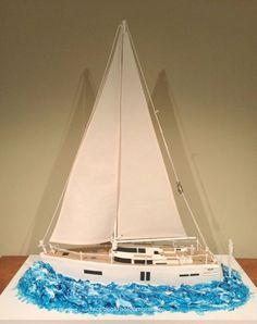Sailing Yacht - cake by Bolo em Branco [by Margarida Duarte] Boat Cake, 21st Birthday Cakes, Birthday Ideas, Cake Tutorial, Water Crafts, Creative Cakes, Themed Cakes, Sailboat, Beautiful Cakes