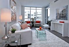 Modern white condominium living room