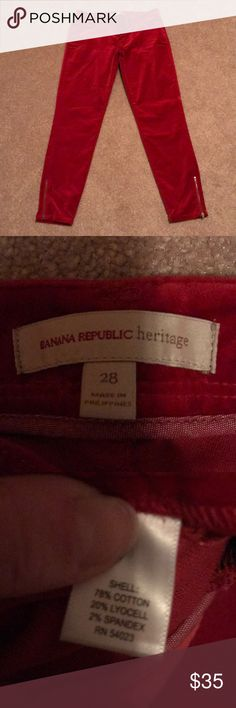 Red velvet Skinny pants Amazing condition and so comfy! 17 inch inseam and 14 inch waist Banana Republic Pants Skinny
